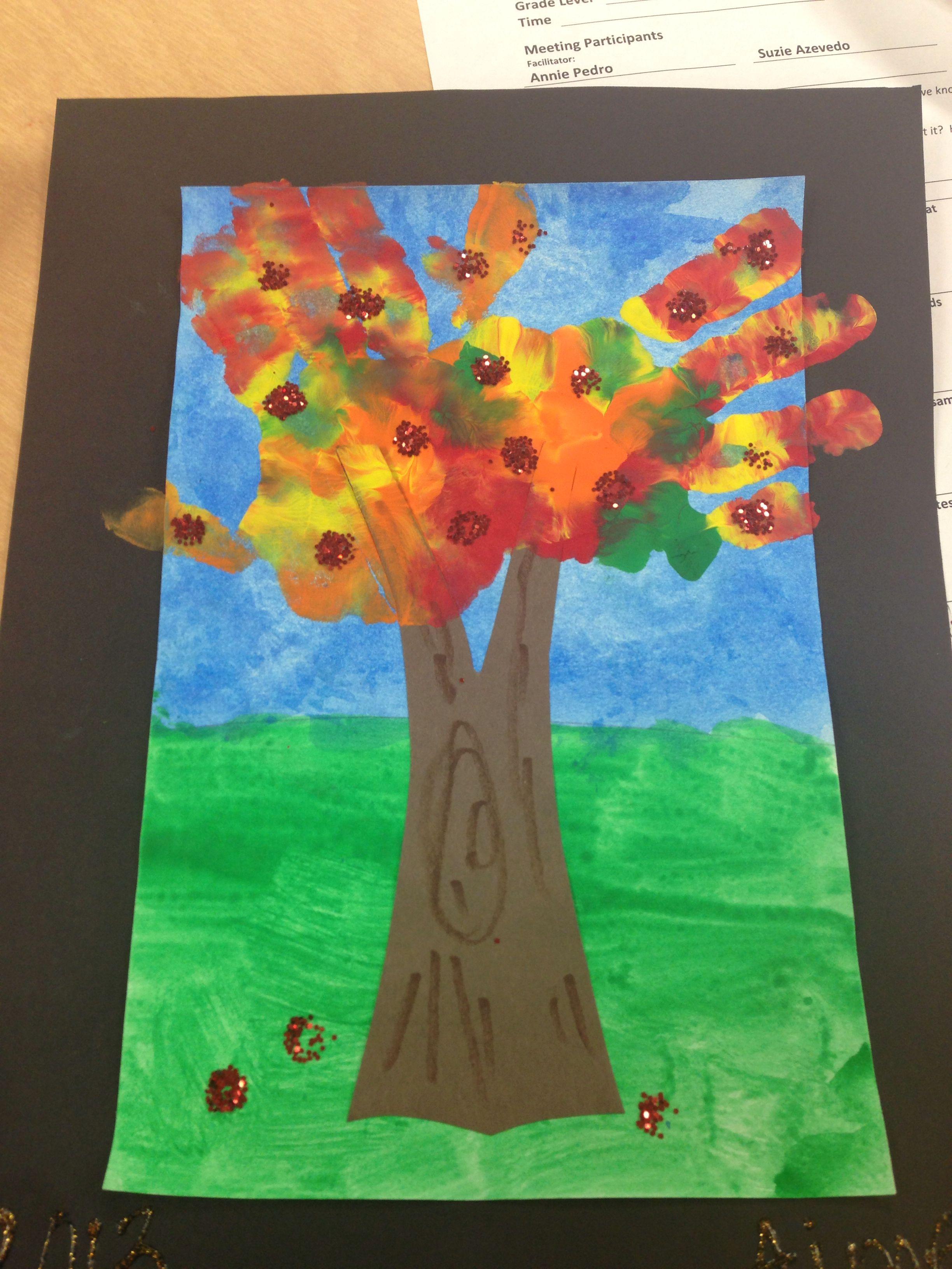 September Apple Tree Handprint Art Kindergarten