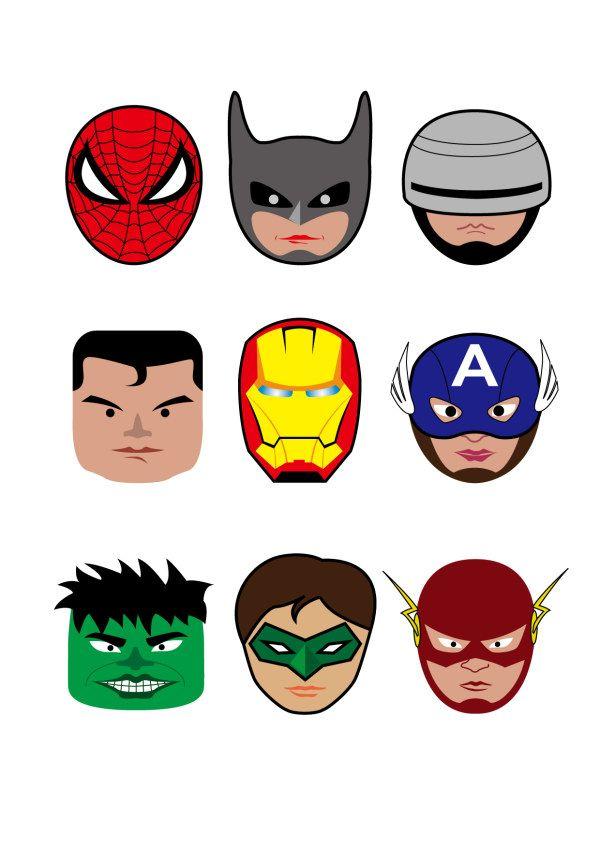 Cartoon Superheroes Head Portrait Vector Vector Cartoon Free Superhero Printables Superhero Party Superhero Birthday