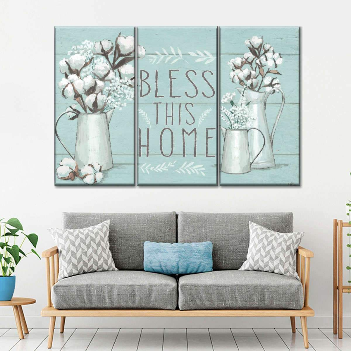 Blessed I Mint Multi Panel Canvas Wall Art In 2020 Shabby Chic Wall Art Chic Wall Art Farmhouse Wall Decor Living Room