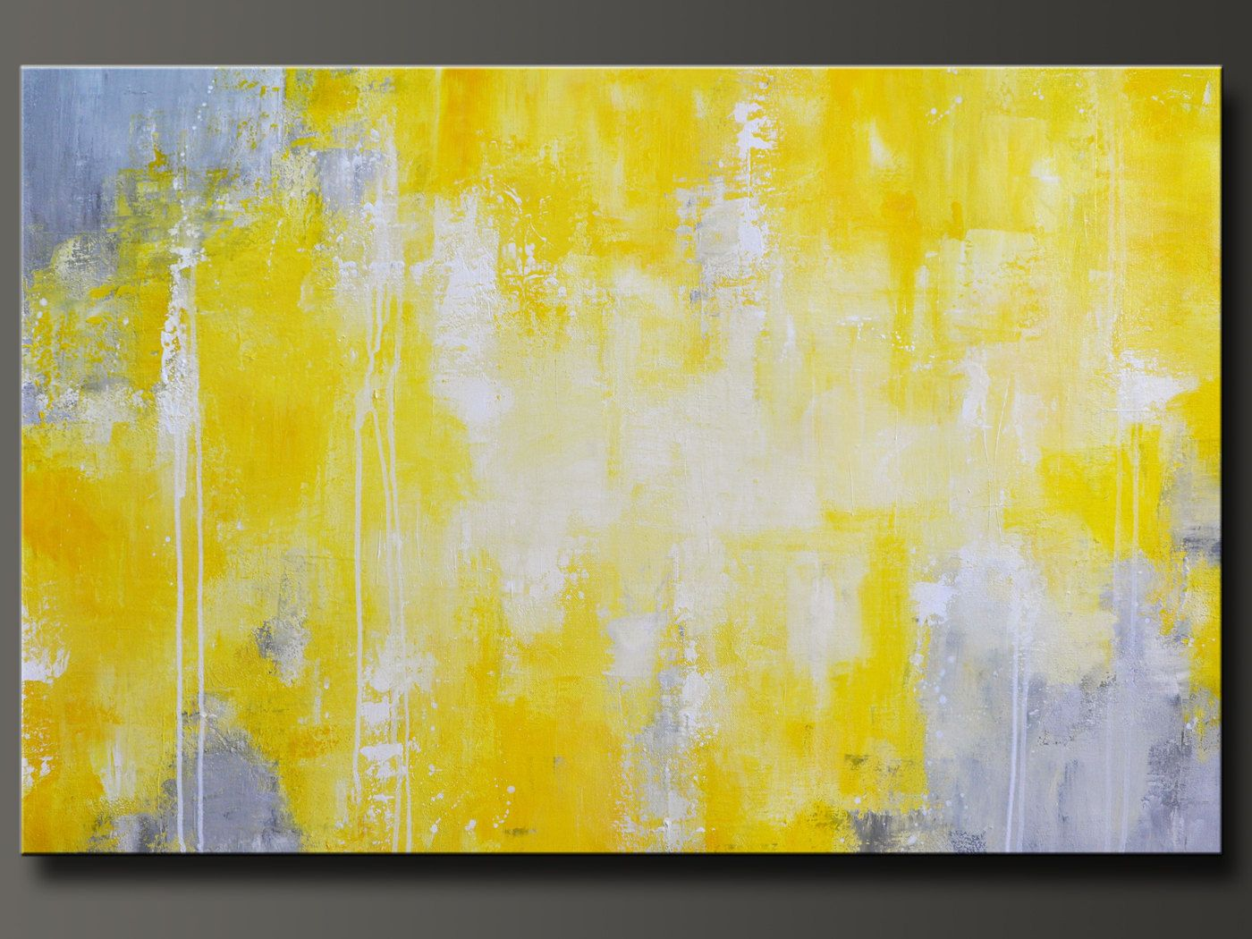 Abstract in Yellow 12 - 36 x 24 - Abstract Acrylic Painting ...