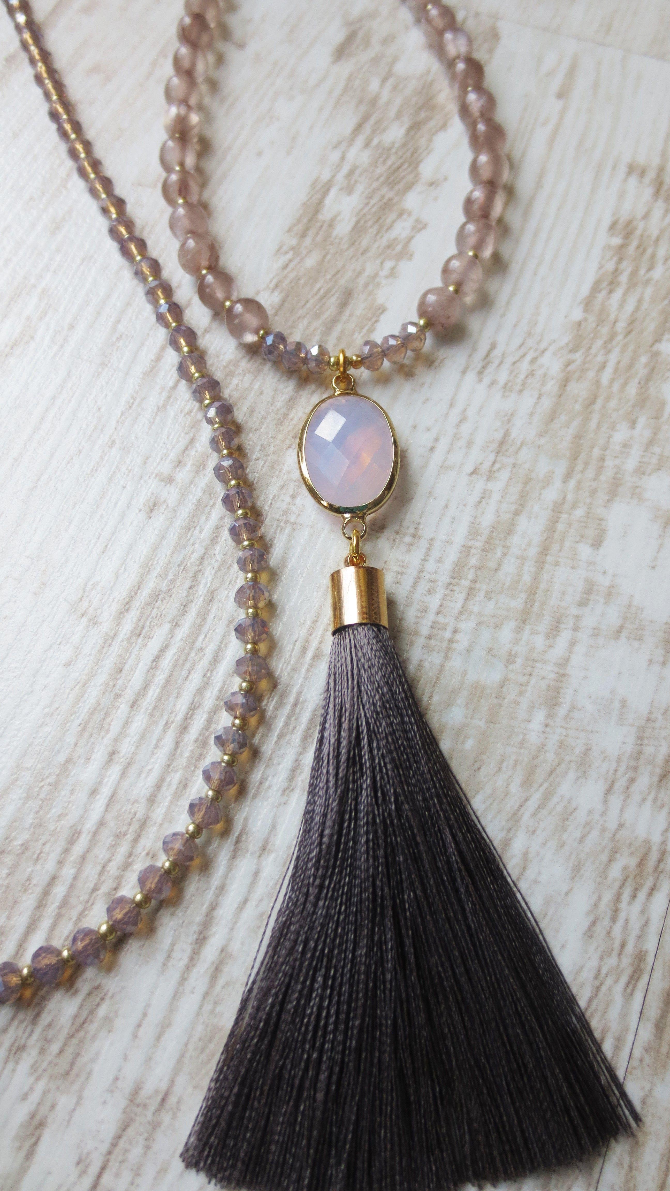 necklace silk tassel gems chunky crystal Quartz Jade OOAK handmade sparkling Boho Luxurious mauve Mala Kette Quaste Malve Seide Kristall rose Gold