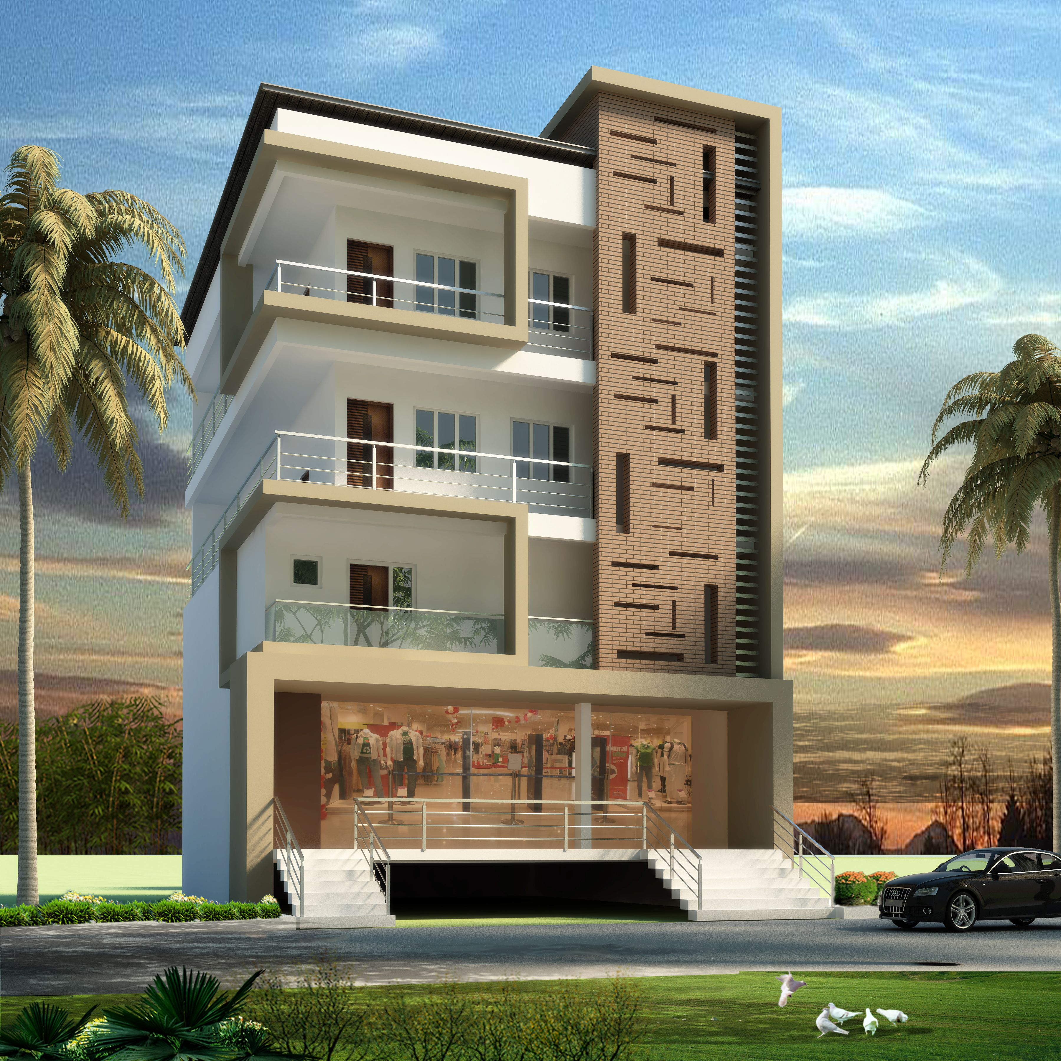 Apartment elevation design architectural design for Elevation design photos residential houses