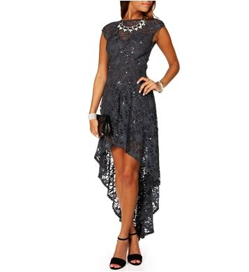 Virginia-Gunmetal Sequin Hi Low Dress- did you say gray? Something off the beaten path…. I would have to hide my ugly knees….