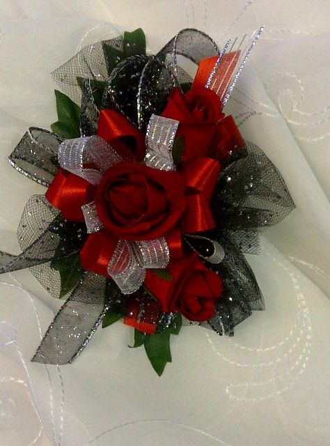 Wrist Corsage In Red And Black Prom Trends Pinterest Corsage