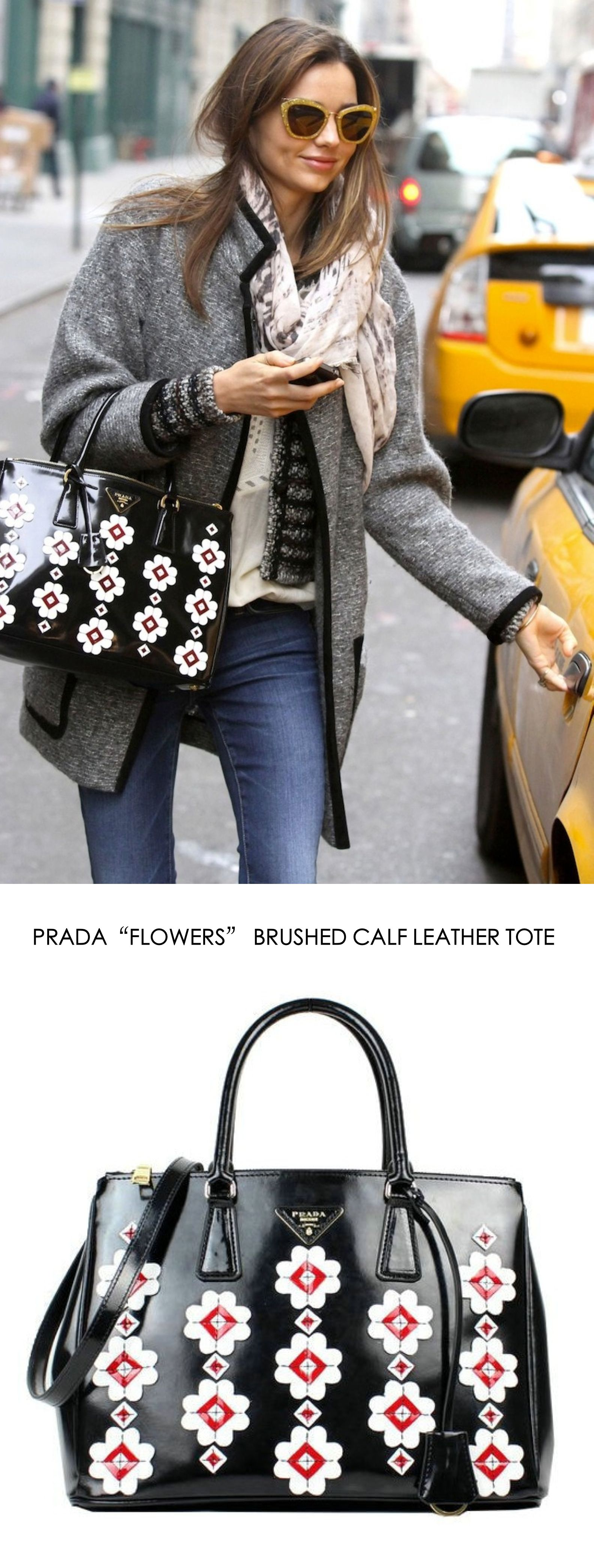 black prada flower bag