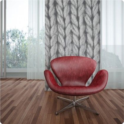Knitted removable wallpaper in Dark Grey Removable