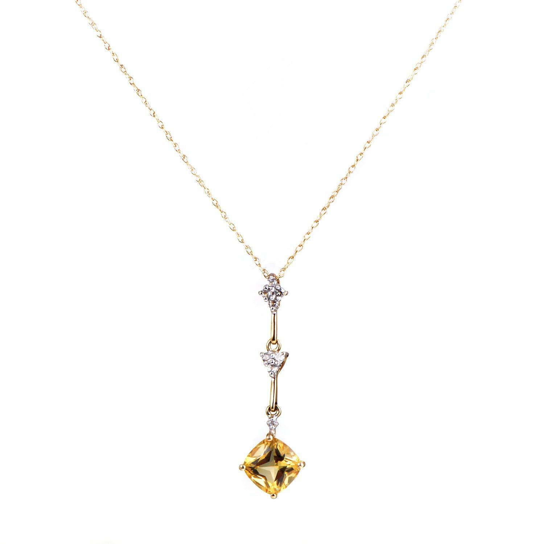 Womenus k white and yellow gold diamond and citrine pendant