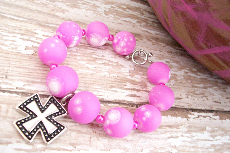Pink Christian Bracelet With Silver Cross Pendant Fuchsia Pink Cross ...