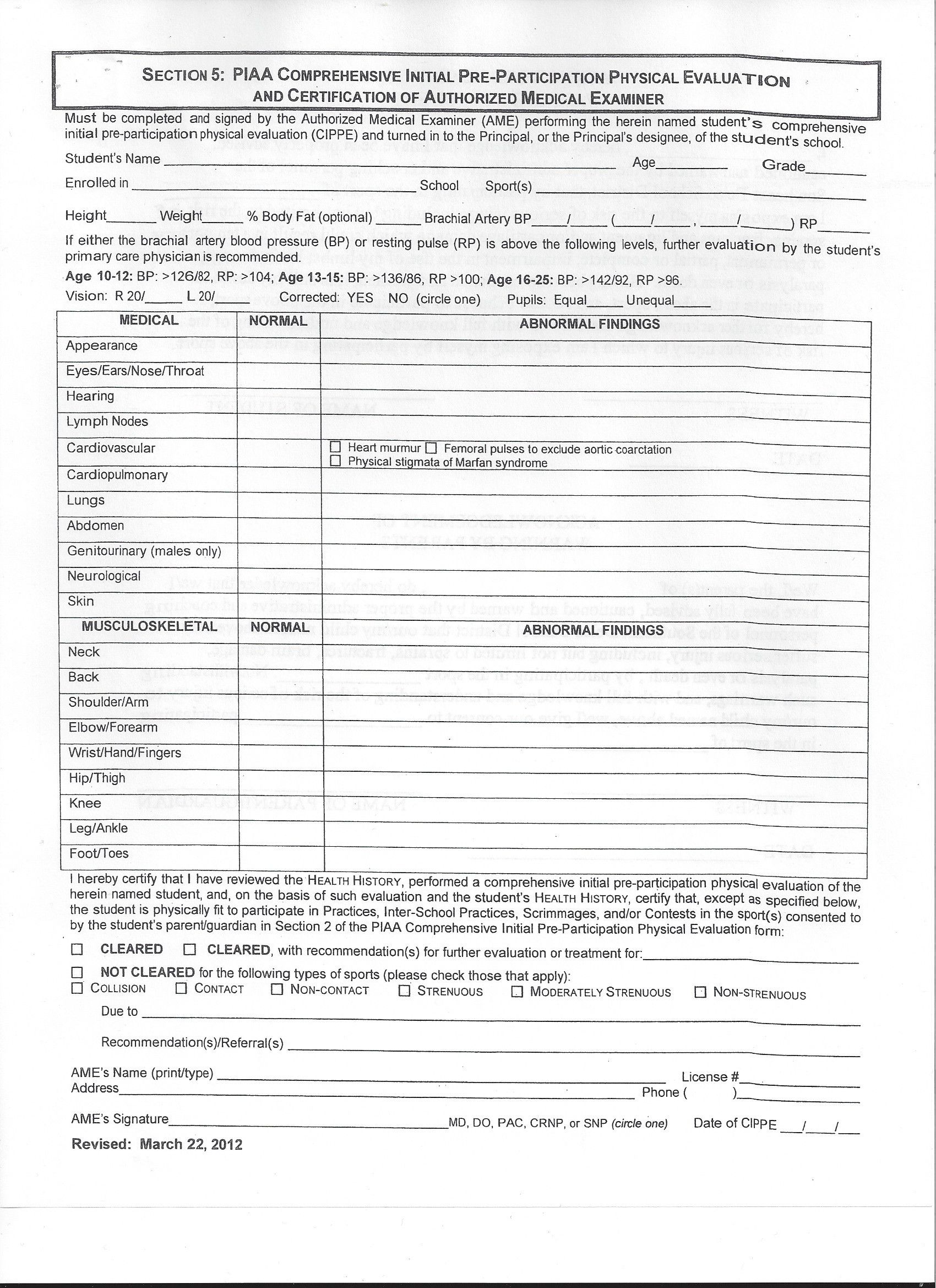 Medical Fitness Certificate Format For College Admission