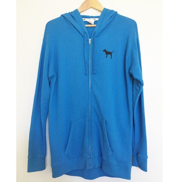 """VS Pink Blue Zip Up Hoodie Jacket This jacket is a pretty blue color. It's a zip up jacket with a hood. {no rips holes or stains}. Longer style & runs big so could be used as tunic as well and look cute with leggings. Approx measurements- length 30"""" 