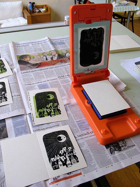 Christmas Card Printing With Gocco Pg5 Print Christmas Card Linocut Prints Prints