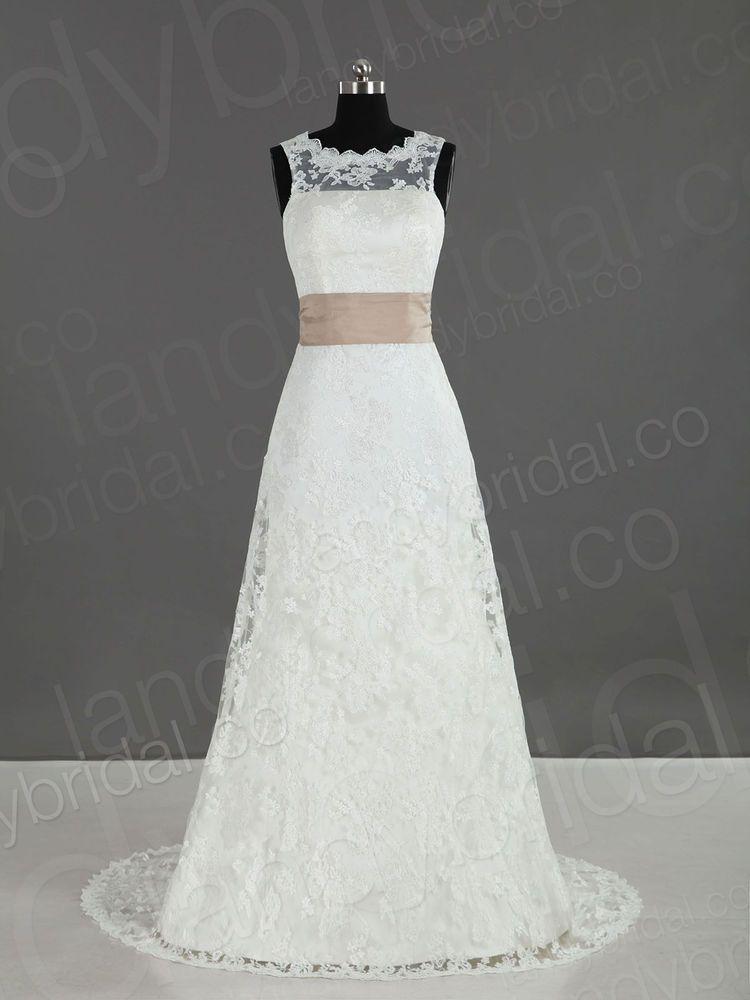 Column Brautkleid Hochzeitskleid aus Spitze mit Gürtel weiß ...