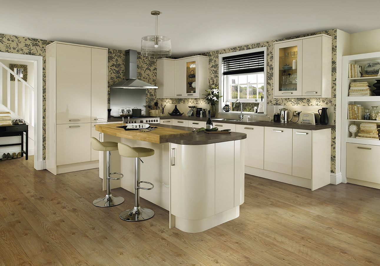 Howdens Kitchen Base Cabinets The High Gloss Of The Glendevon Ivory Kitchen Range From