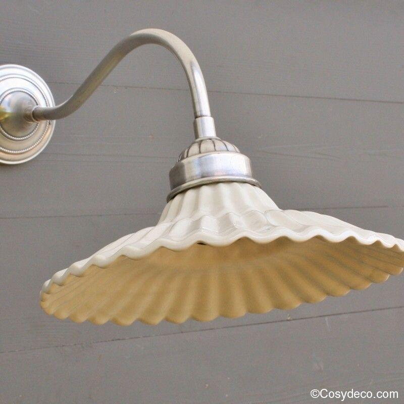 Applique Rétro Deco nickel Abat-jour Porcelaine Luminaires Rétro ...