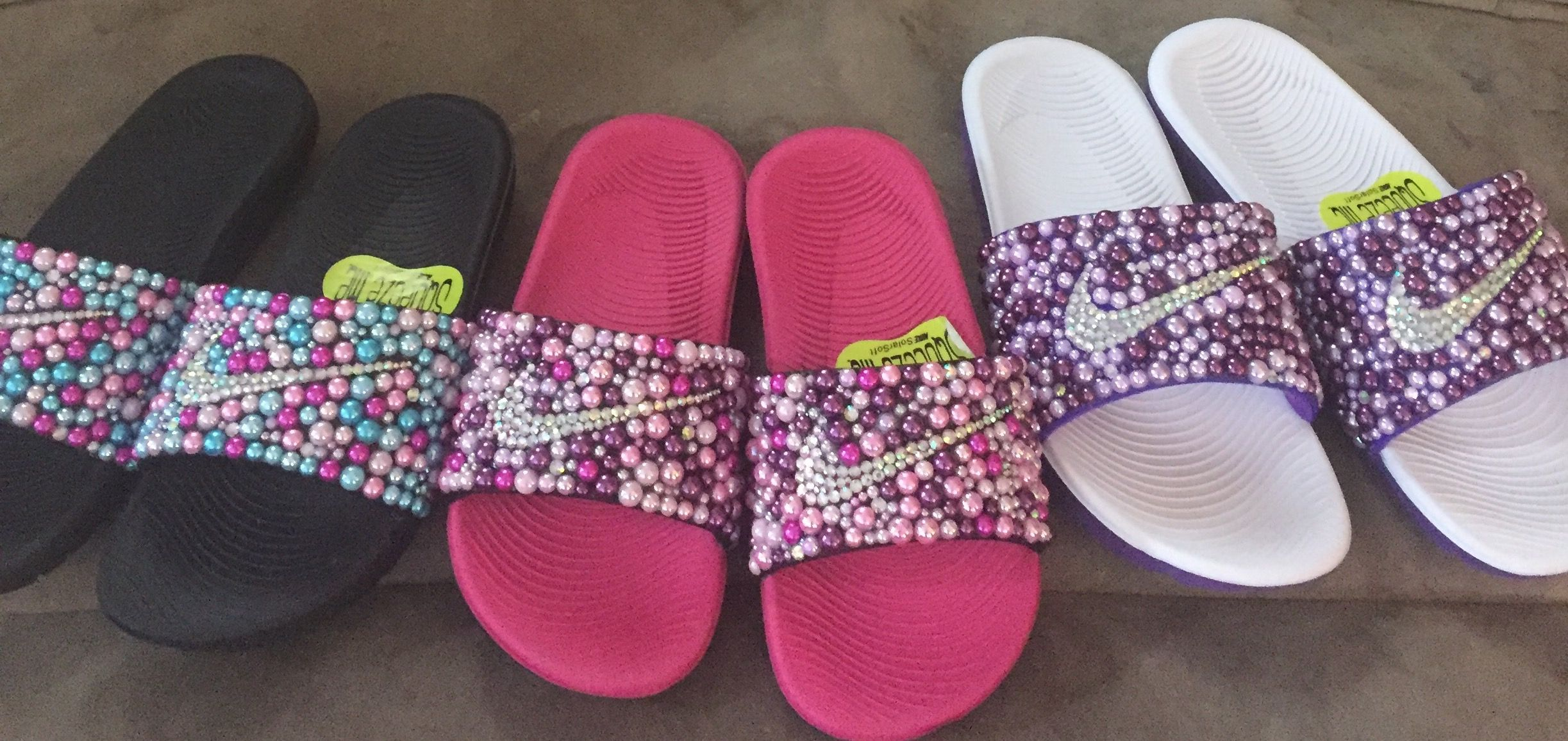 the best attitude 141d4 4a041 Custom Bling Nike Flip Flop Slides Benassi Embellished with high quality  rhinestones and pearls