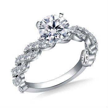 150 ct tw Diamond Twist Shank Engagement Ring in 14K White Gold