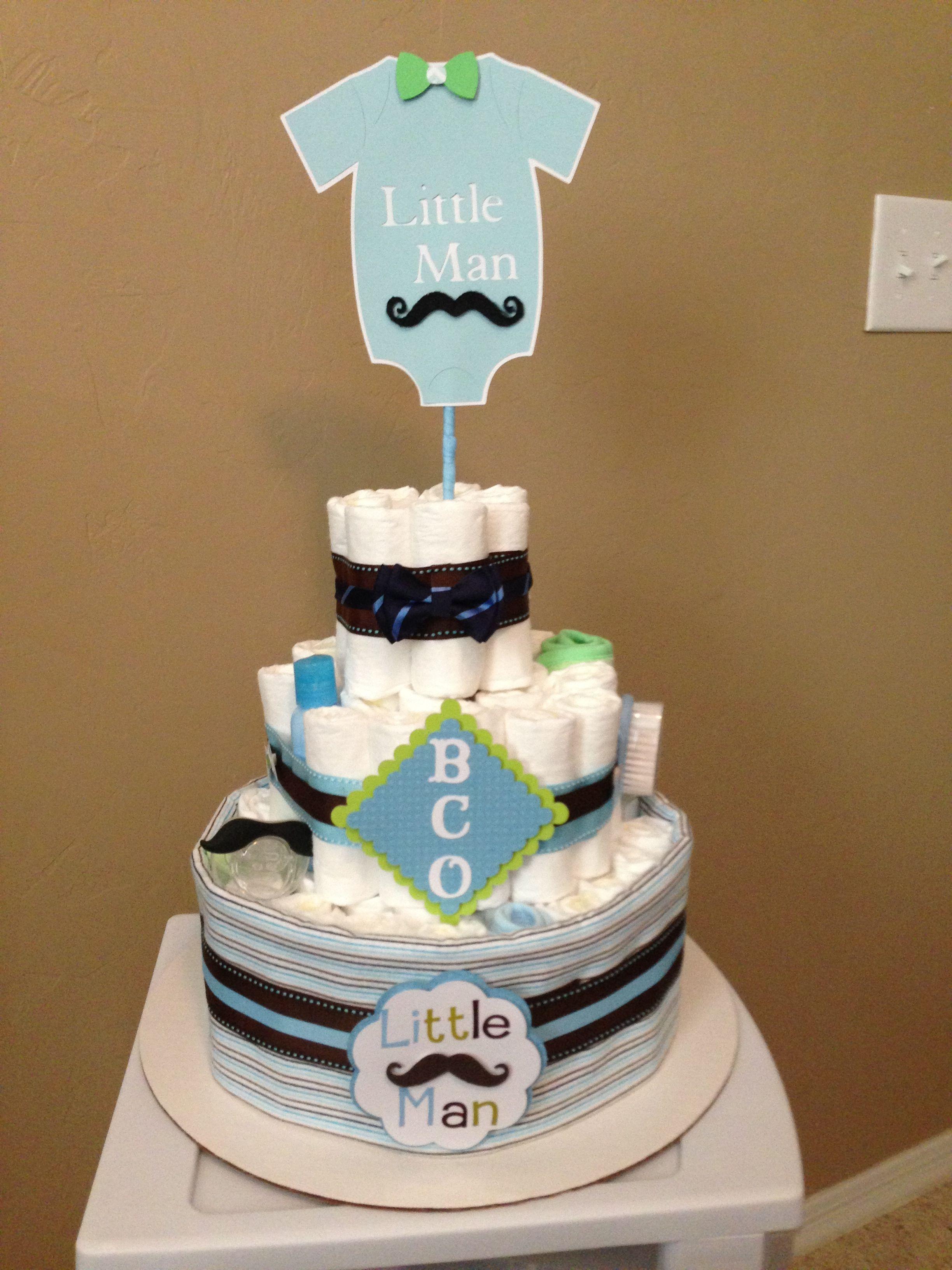 Little Man Mustache & Bow Tie 3 tier diaper cake