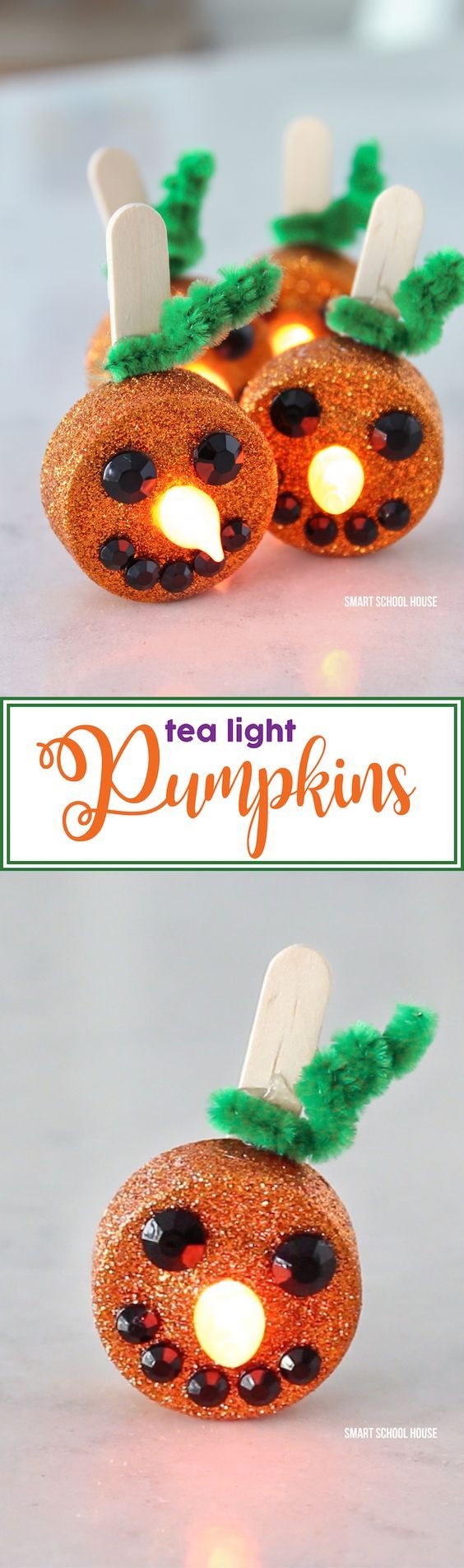 Tea Light Pumpkins - little orange flameless tea lights that stand - Kid Friendly Halloween Decorations