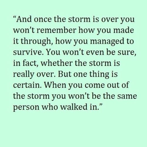 Once the storm is over you won't remember how you made it through, how you managed to survive. You won't even be sure, in fact, whether the storm is really over, but one thing is certain. When you come out of the storm you won't be the same person who walked in.
