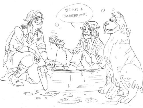 angie-s-g: Zevran tries to lure the mabari into taking a bath. Obviously the dog won. The warden just came in and saw the disaster. Someone should stop me from drawing these three. Its just so easy to imagine Zevran, my Tabris warden and the mabari in many grossly domestic scenarios. They are so cute its frankly disgusting.