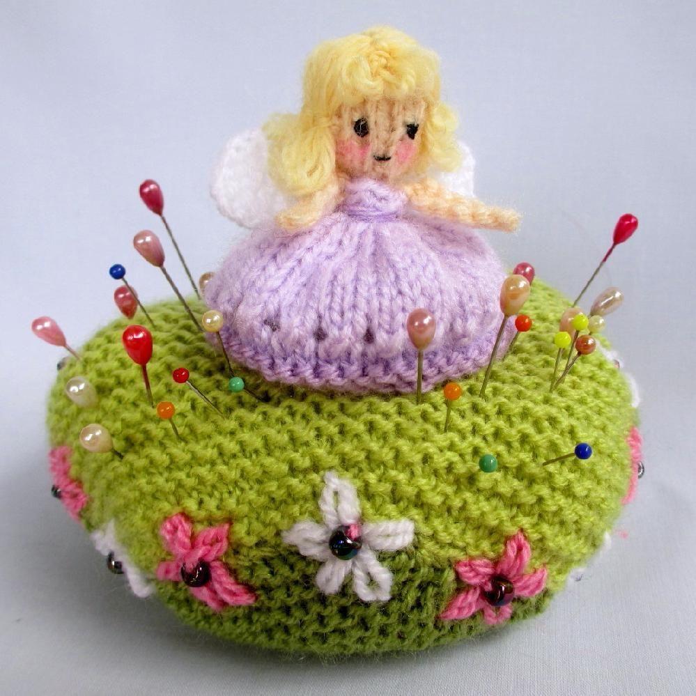 Fairy pin and pin cushion knitting pattern by dollytime knitting