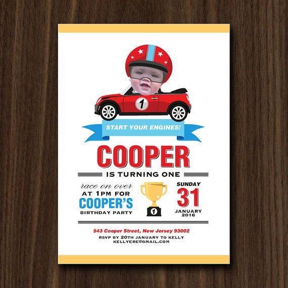 DIGITAL FILE Mini Cooper Race Car Invite Mini Cooper Race Car