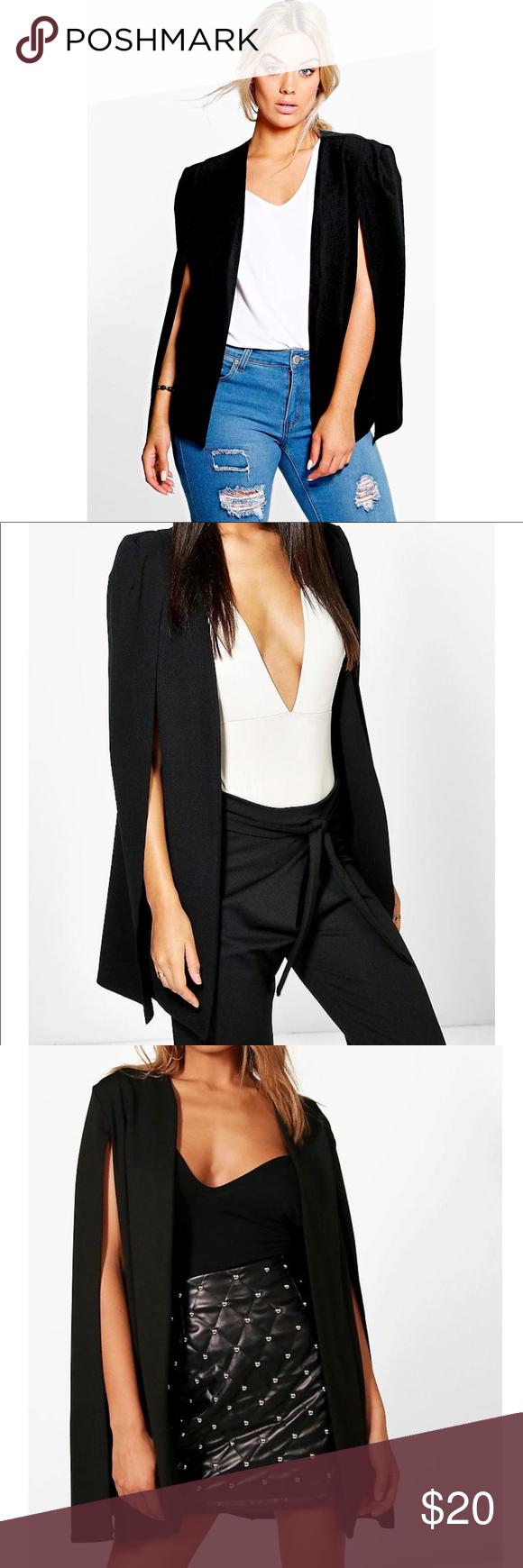 Boohoo Tailored Black Cape Blazer Cape Blazer Black Cape Clothes Design