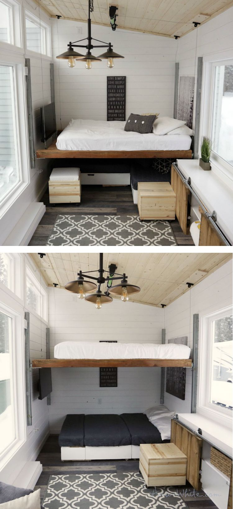 Elevating Bed Turns Tiny Trailer Into Modern And Spacious
