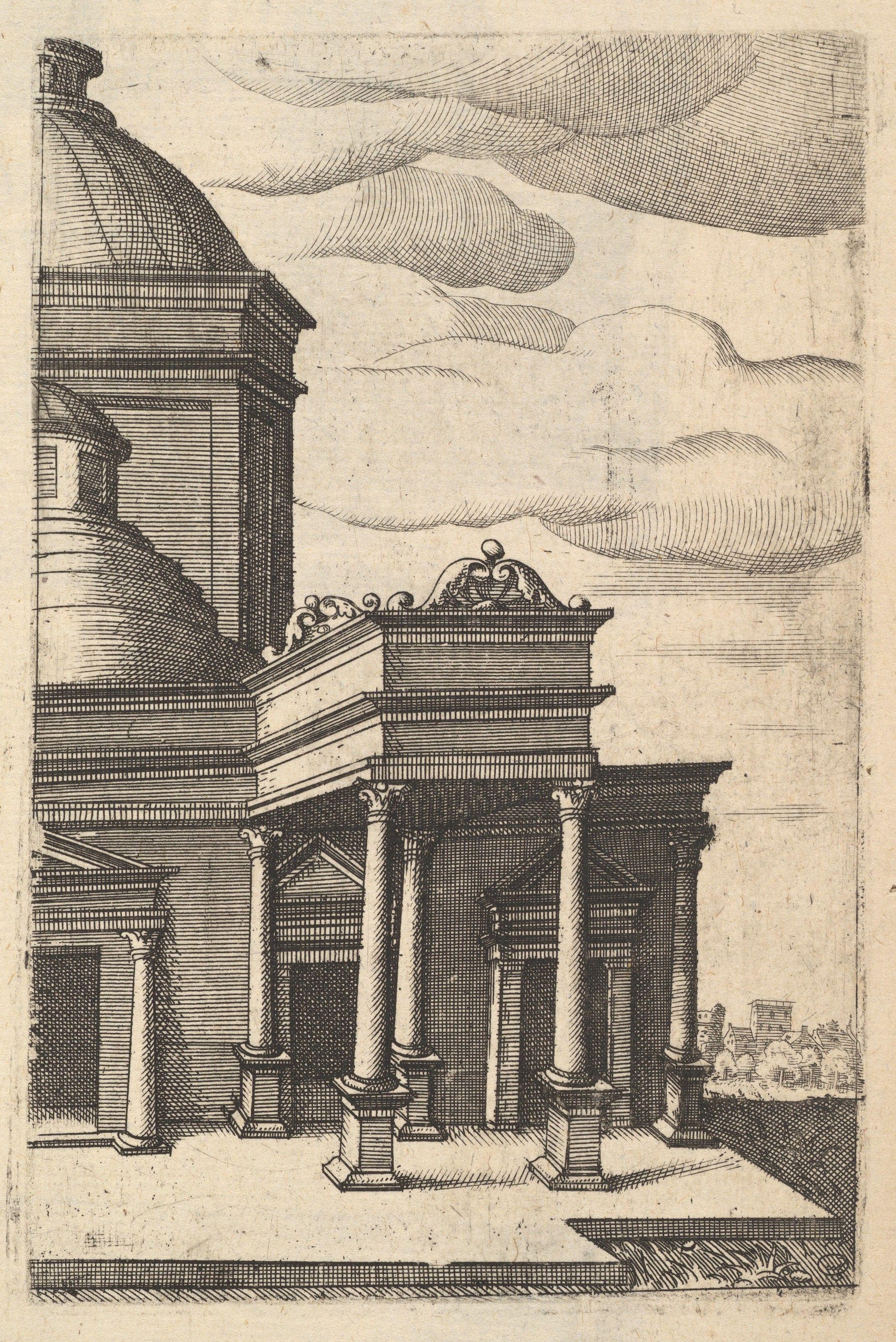 Partial view of a Building from the series Ruinarum variarum fabricarum delineationes pictoribus caeterisque id genus artificibus multum utiles  Published ca. 1550