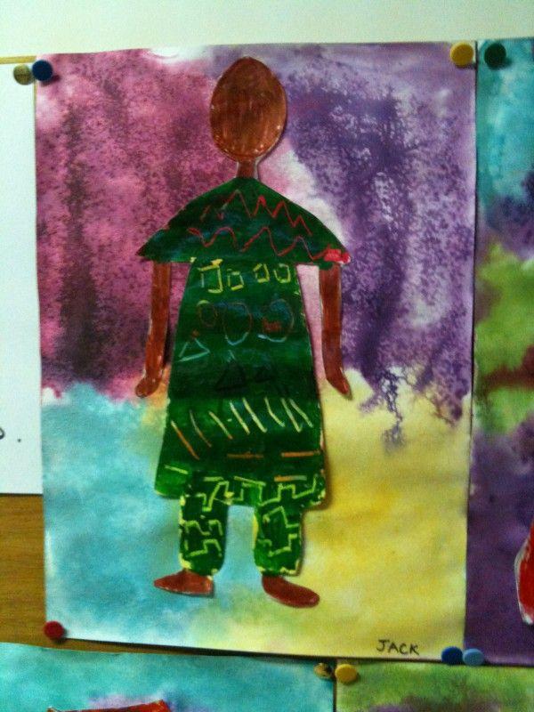 Homme en boubou africain art visuel maternelle la - Motifs africains maternelle ...