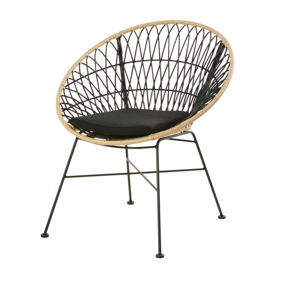 fauteuil de jardin en resine noire et