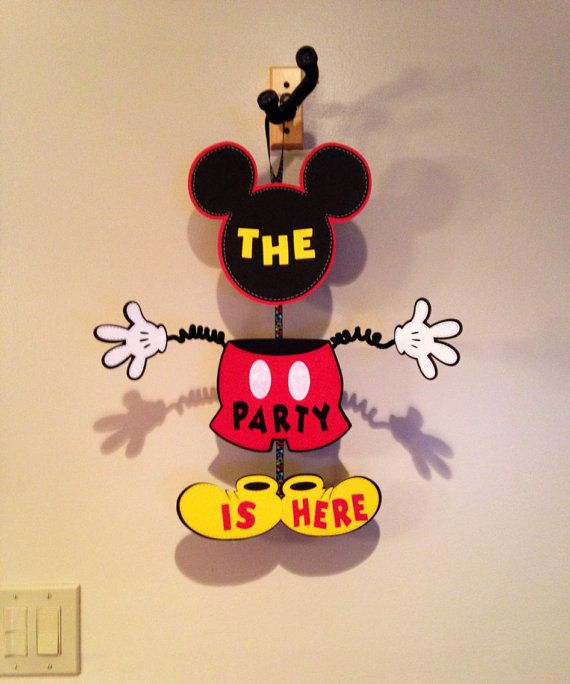 Mickey Mouse Party Door Sign Birthday by CutestBowsOnTheBlock, $20.00