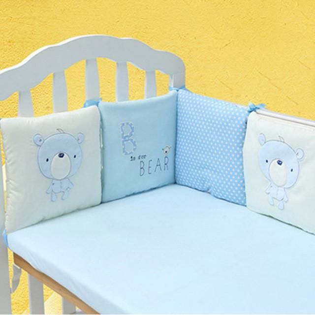 4//6Pcs Baby Infant Cotton Crib Bumper Nursery Bedding Cot Pillow Pad Protector