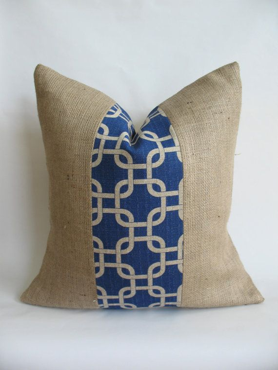 Burlap and Decorative Fabric Pillow Cover by BouteilleChic on Etsy, $18.00