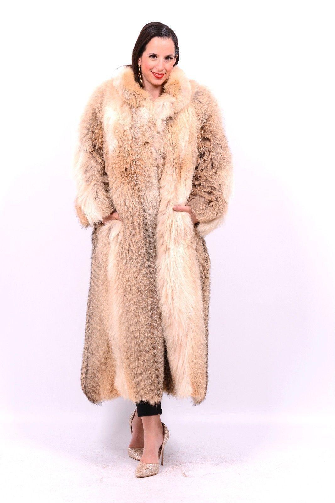 Fox fur coat jacket class of lynx blue white red silver