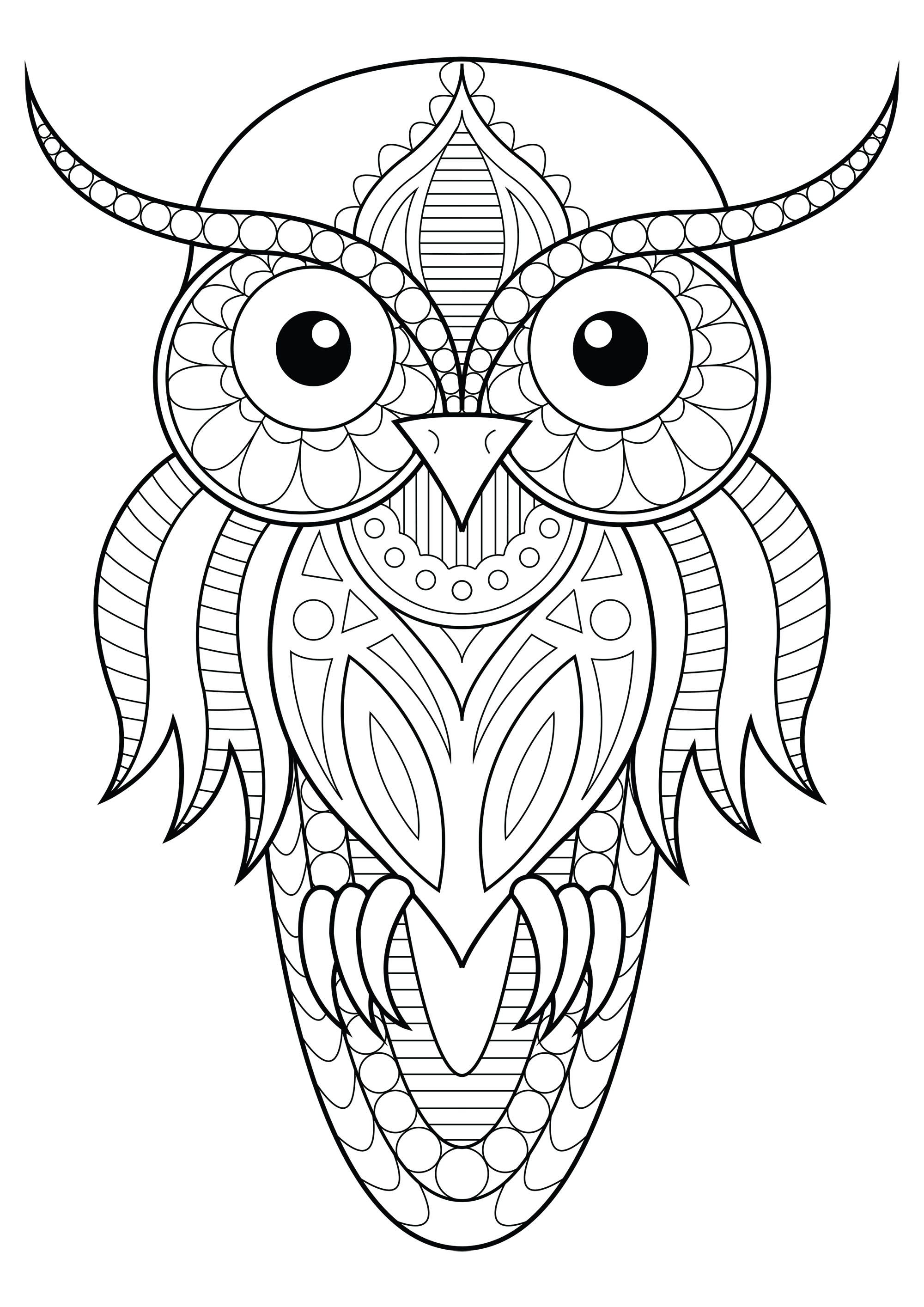 Color This Simple Owl With Beautiful Patterns Color This Simple Owl With Beautiful Patterns Owl Coloring Pages Geometric Coloring Pages Pattern Coloring Pages