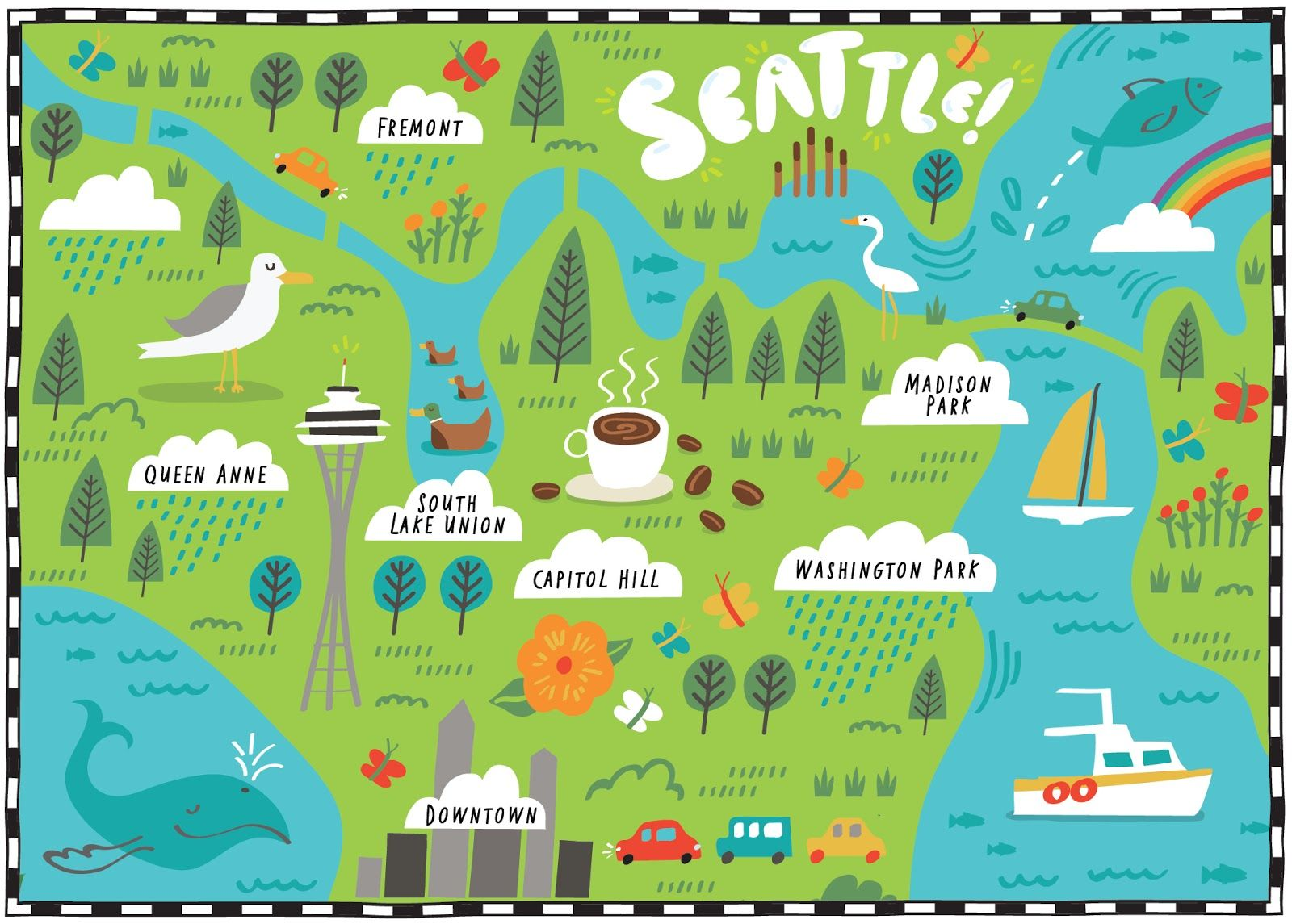 i draw maps illustrated map of seattle for the wall on wall street journal online id=98547