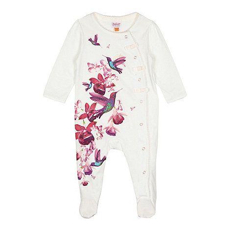 6f53c387b85d Baker by Ted Baker Baby girls  off white bird print sleepsuit ...