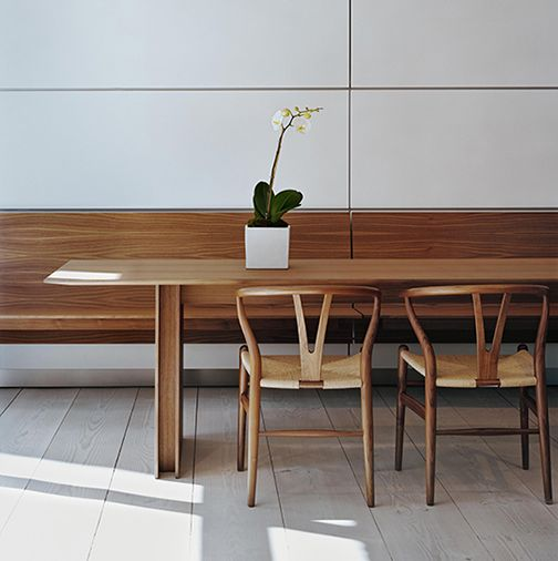 The bulthaup c3 table and wall hung bench have a for Dining table design examples