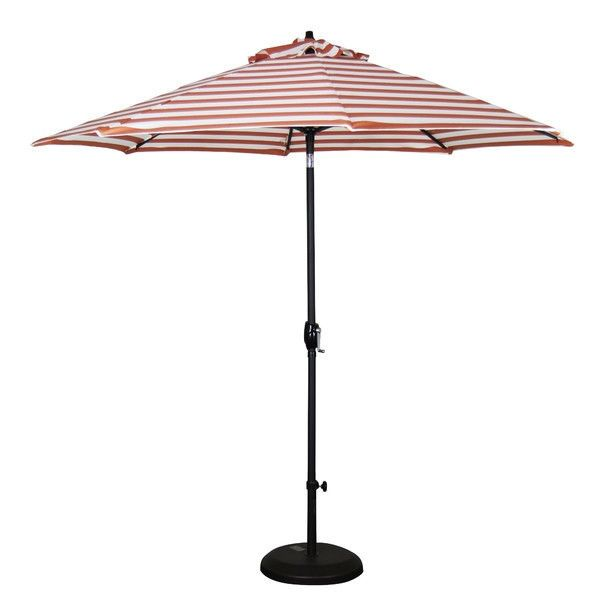 Orange White Striped 9 Ft Patio Umbrella With Push Button Tilt   Quality  House