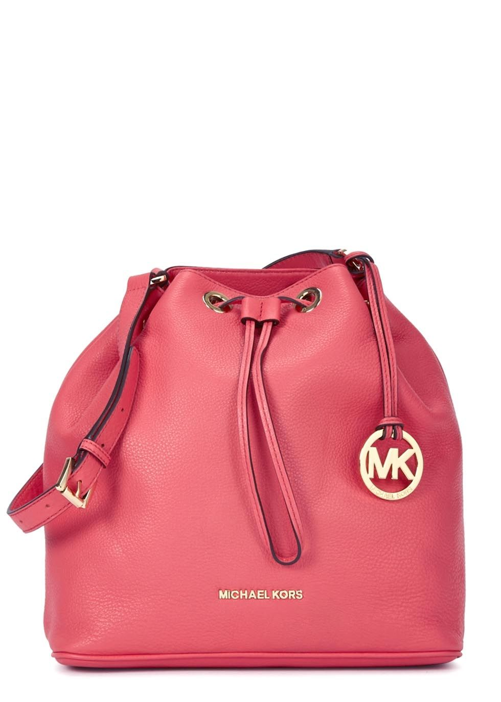 f4de376f32 Michael Kors coral grained leather bucket bag