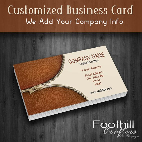 Premade business card design zipper and leather design premade business card design zipper and leather design professional branding customize with company name and info leather goods reheart Image collections