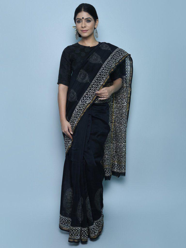 Black Ivory Bagru Print Chanderi Silk Saree | Indian fashion ...