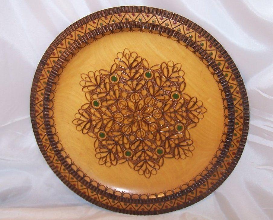 Pyrography Platter, Poland, Woodburned Pyrography