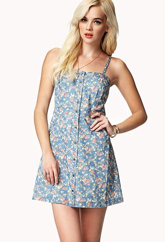 d4ce104f39cb Floral Denim Dress | FOREVER21 - 2042318240 #ForeverHoliday ...