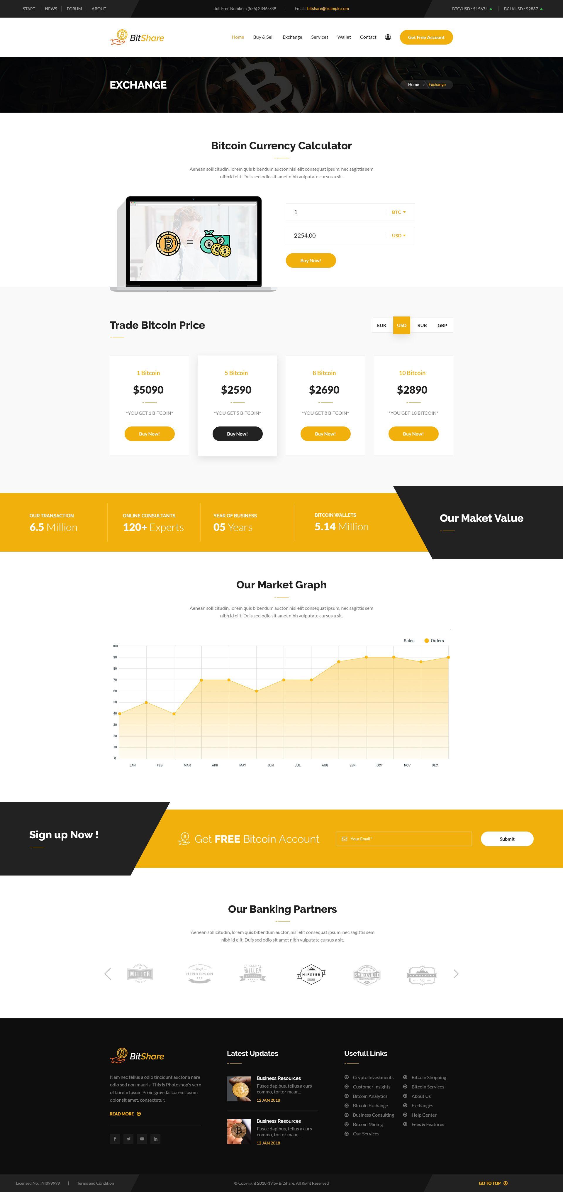 Bit Share Bitcoin Crypto Currency PSD Template Crypto