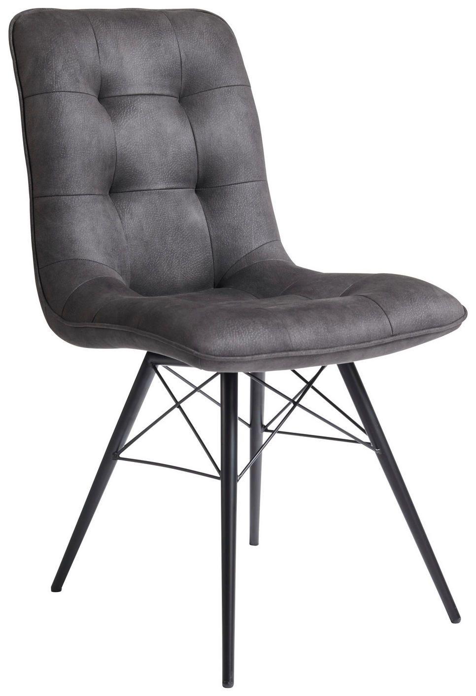 Stuhl Mikrofaser Eukalyptusholz Sperrholz Schwarz Dunkelgrau Esszimmerstuhle Stuhle Grauer Stuhl