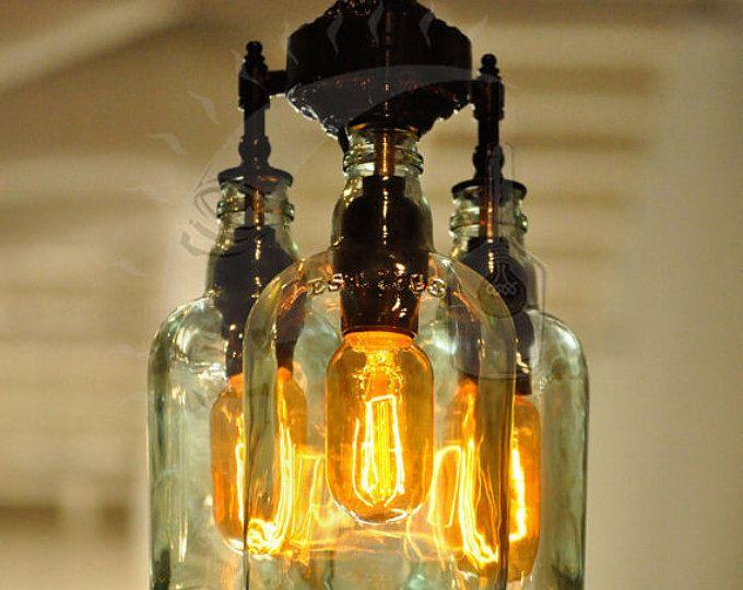 recycling flasche kronleuchter marquis gin lampen pinterest flasche kronleuchter. Black Bedroom Furniture Sets. Home Design Ideas