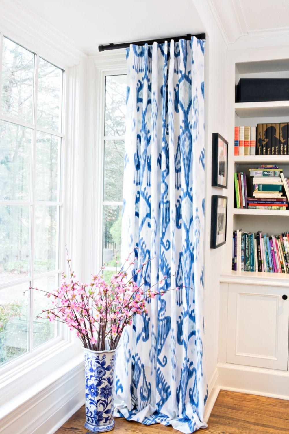 marvelous robert allen home and garden. Robert Allen Khandar Indigo cobistyle drapery curtain panel  blue and white ikat cotton with lining