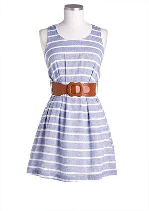 stripe chambray dress